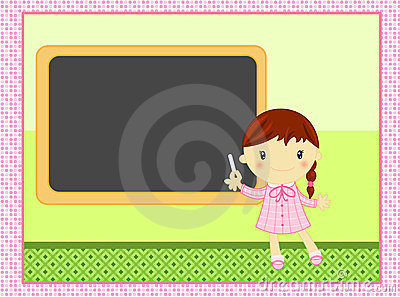 Muchacha de la escuela con balckboard