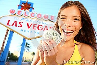 Muchacha de Las Vegas emocionada