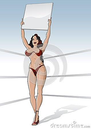 Muchacha del anillo de boxeo con la tarjeta en blanco