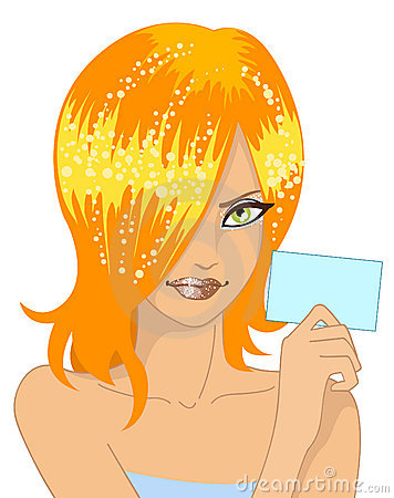 Muchacha del encanto con la tarjeta