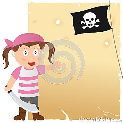 Muchacha del pirata y pergamino viejo