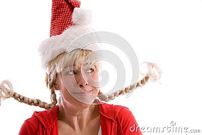 Muchacha divertida de la Navidad