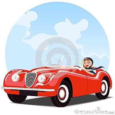 Muchacha en coche convertible rojo viejo