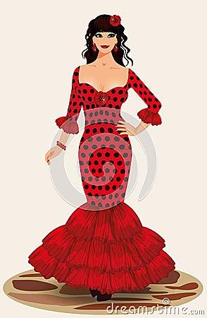 Muchacha joven del flamenco de la elegancia