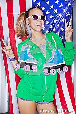 Muchacha patriótica hermosa