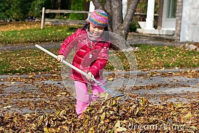 Muchacha que rastrilla las hojas