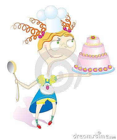 Muchacha y torta