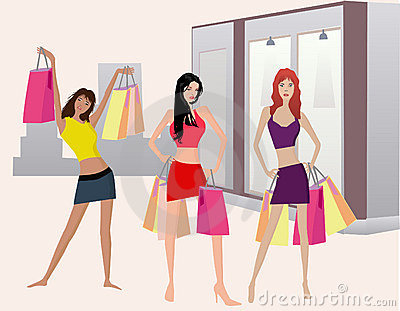 Muchachas de Shoping - illustt del vector