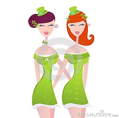 Muchachas irlandesas del día del St. Patrick en verde