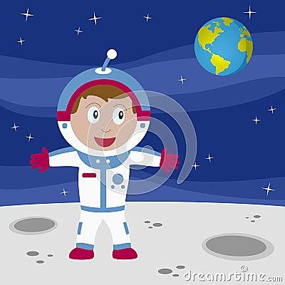Muchacho del astronauta en la luna