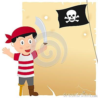 Muchacho del pirata y pergamino viejo