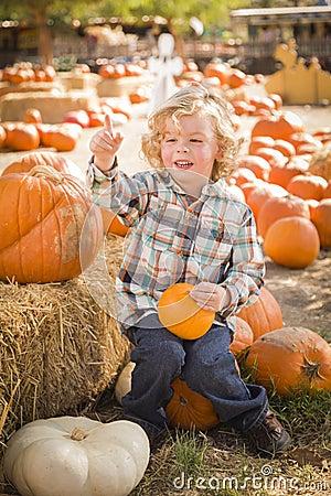Muchacho feliz que sienta y que sostiene su calabaza en el remiendo de la calabaza
