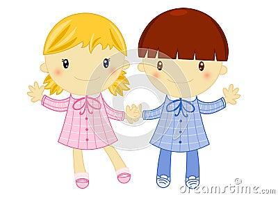 Muchacho y muchacha que desgastan el delantal de la escuela primaria