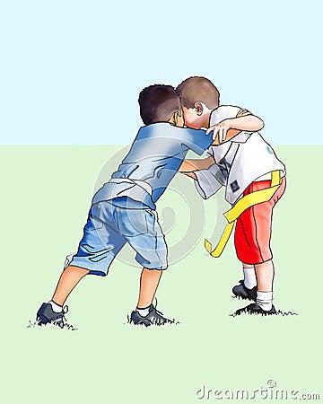 Muchachos que juegan al balompié