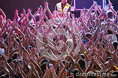 Muchedumbre en el concierto de rock