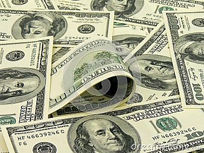 Muchos billetes de banco de 100 dólares