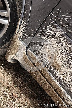 Mud on car