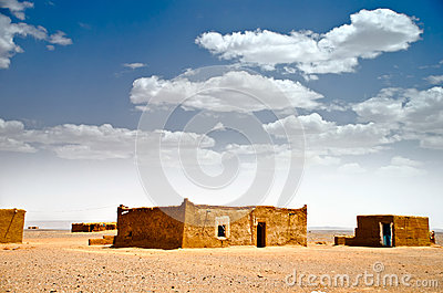 Mud houses in the Sahara desert