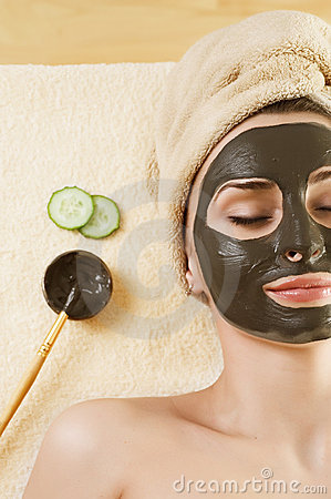 Free Mud Mask On The Face.Spa. Stock Photo - 13449690