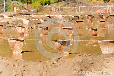 Mud pit at a mud run obstacle course