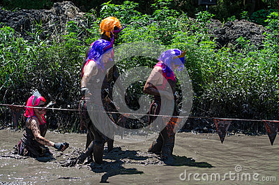 Mud princess group Editorial Stock Image