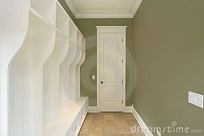 Mud room with green walls