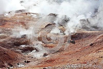 Mud volcanoes and geysers