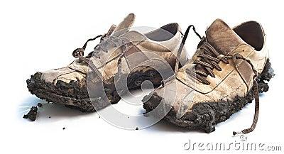 Muddy footwear shoes