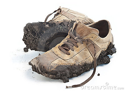 Muddy footwear shoes