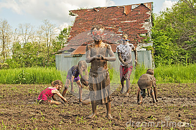 Muddy Little Boy Wears Goggles Country Kids Mud Fight