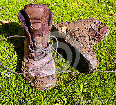 Muddy walking boots