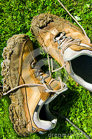 Muddy walking shoes