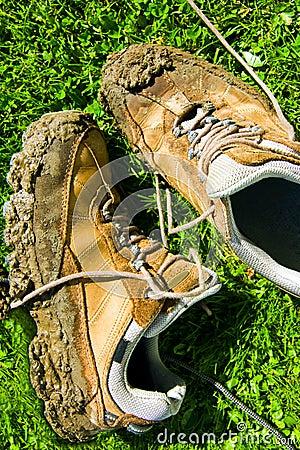 Muddy walking shoes