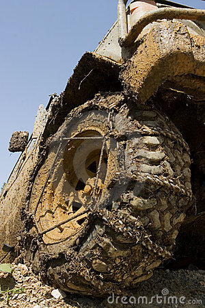 Muddy wheel close-up