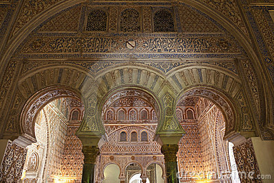 Mudejar arches in the Royal Alcazar of Sevilla