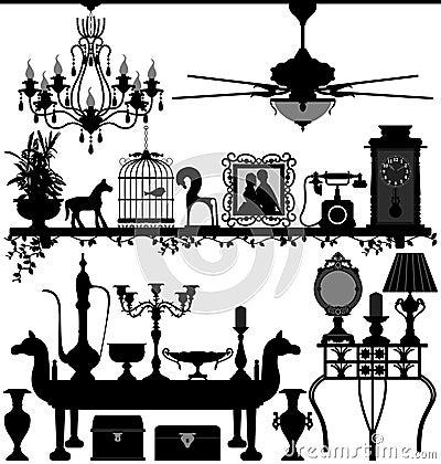 Muebles caseros antiguos de la decoración
