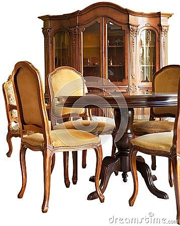 Muebles de madera clásicos viejos con woodcar hecho a mano