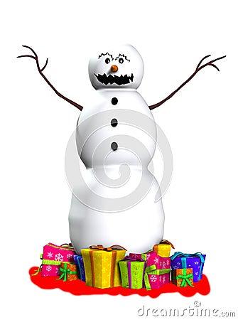 Muñeco de nieve asustadizo