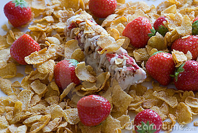 Muesli bar with cornflakes