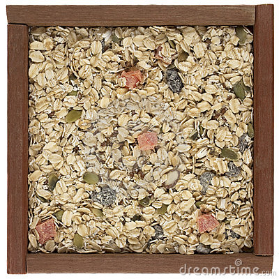 Muesli cereal in a wooden box