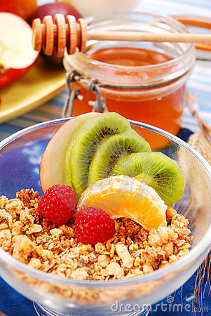 Muesli with fresh fruits as diet breakfast