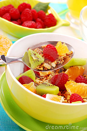 Muesli with fresh fruits as diet food