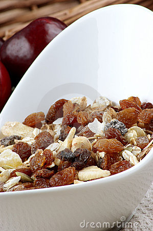 Muesli with raisins in a bowl