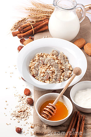 Free Muesli With Milk And Honey Royalty Free Stock Images - 35380739