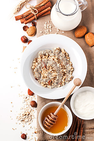 Free Muesli With Milk And Honey Royalty Free Stock Photography - 35408057