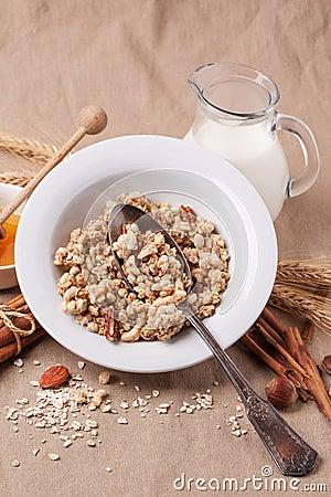 Free Muesli With Milk And Honey Stock Images - 35509504