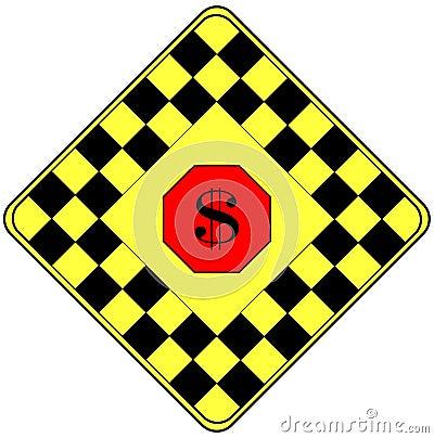 Muestra de dólar en una señal de peligro del tráfico
