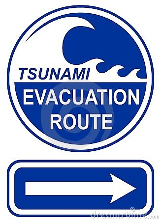 Muestra de la ruta de la evacuación del tsunami