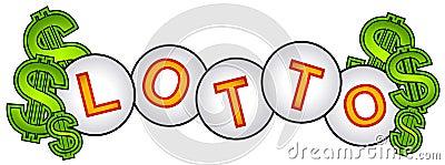 Muestra de las bolas de la lotería del efectivo de la loteria