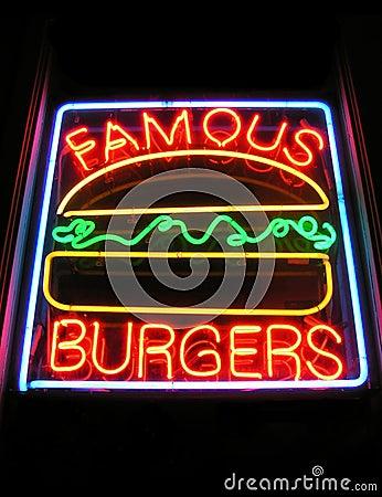 Muestra de neón de la hamburguesa famosa
